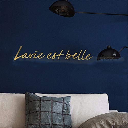 Eraty Wall Stickers Art DIY Removable Mural Room Decor Mural Vinyl French Quote La Vie Est Belle for Living Room Bedroom