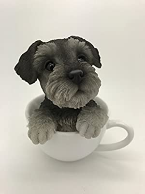 Pacific Giftware Adorable Teacup Pet Pals Puppy Collectible Figurine 5.75 Inches (Schnauzer)
