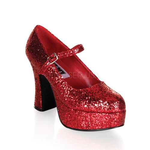 Funtasma by Pleaser Women's Maryjane-50G Pump,Red Glitter,8 - Red Glitter High Platform Heel