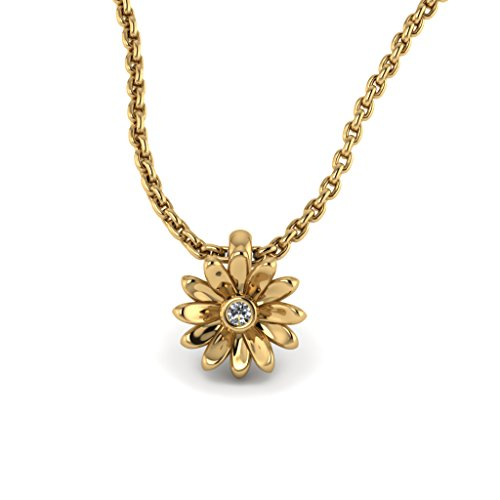 Daisy Flower Pendant 14K Yellow Gold with White Diamond (SI-2, G-H, - Pendant Flower Diamond Gold White