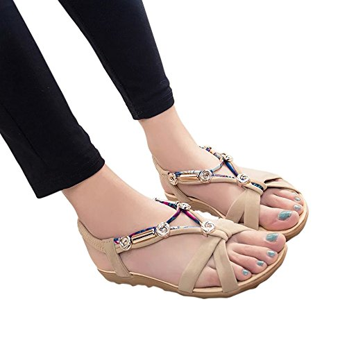 MILIMIEYIK Slide Sandals Women Adjustable, Womens Rhinestone Bohemian Slip On Flip Flops Shoes Strap Toe Loop Flat Sandalses Beige ()