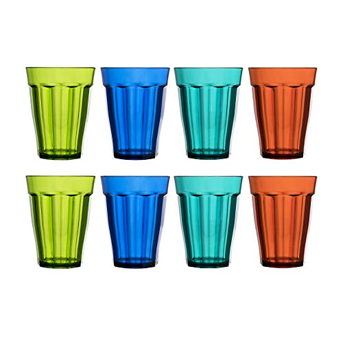 Rhapsody 8-ounce Plastic Tumblers | set of 8 in 4 Assorted Colors ()