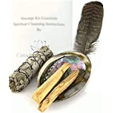 Chakra Palace Smudge Kit Essentials - Abalone Shell, Sage, Palo Santo, Feather, Instructions Spiritual Healing Meditation