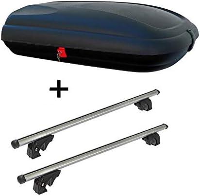 Dachbox VDPBA320 320Ltr carbonlook abschließbar + Dachträger VDPLION1 kompatibel mit Seat Arona (5 Türer) ab 17