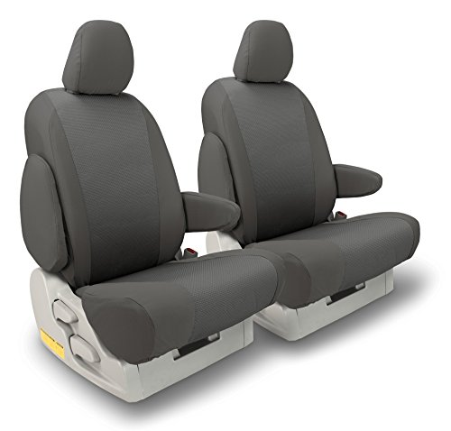FRONT SEATS: ShearComfort Custom OEM Seat Covers for Toyota Tacoma (2016-2018) in Gray for Buckets w/Adjustable Headrests