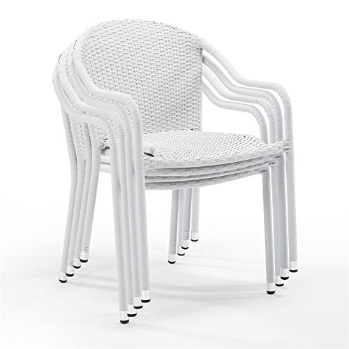 Crosley Furniture Palm Harbor Outdoor Wicker Stackable Chairs – White (Set of 4)