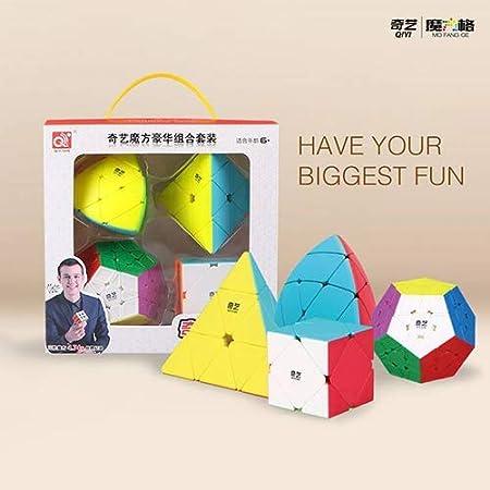 Cubelelo Combo Set of QiYi Speedcubing Bundle Pyraminx Megaminx Mastermorphix Skewb Cubes (Multicolour)