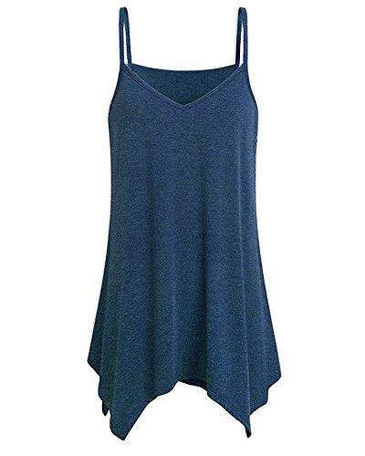 Pure Vest Taille Neck Manches Chemisier Dentelle Couleur sans Bleu Femme Grande Camisole U xwqY646AO