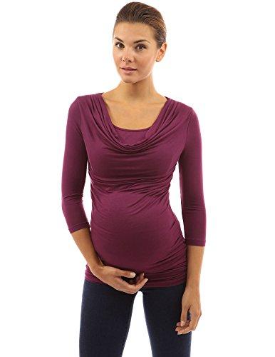 PattyBoutik Mujer estilo 2en1 mama túnica con mangas de 3/4 de maternidad de enfermería magenta oscuro
