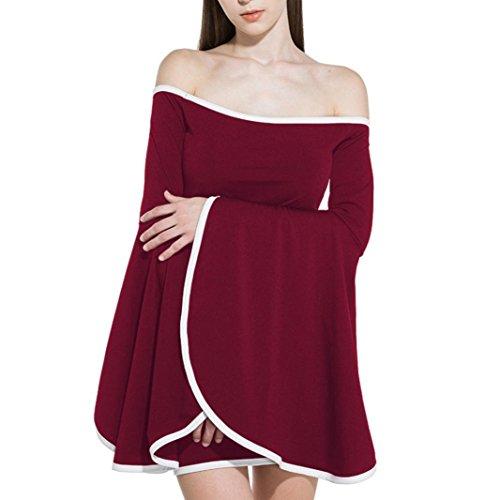 Les Femmes Alimao2018new Un Cou Col Mince Volants Rayé Sexy Robe Hip Beach Party Rouge