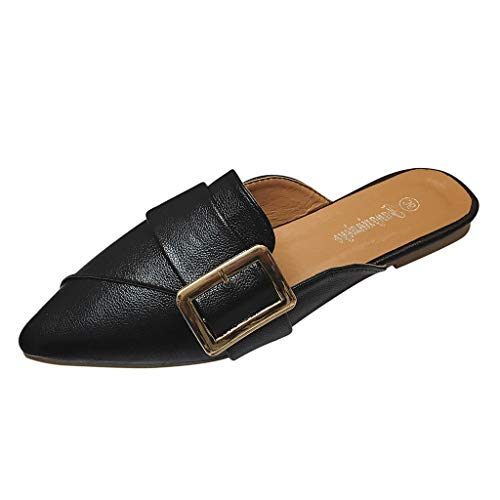 OrchidAmor Women's Fashion Casual Soft Pointed Toe Flat Heel Loafers Single Shoes Slippers Black