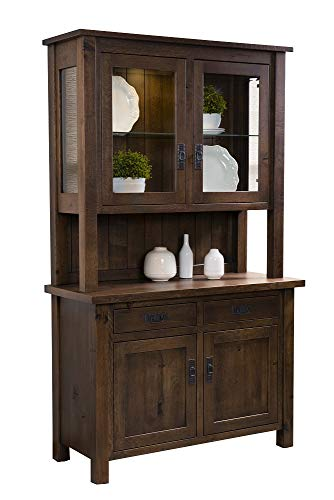"New Hickory Wholesale Amish Regent 48"" 2-Door Solid Wood Hutch, Stained Amond with Glaze"