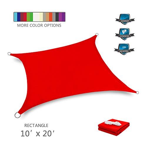 Tuosite Terylene Waterproof Sun Shade Sail UV Blocker Sunshade Patio Rectangle Knitted 220 GSM Block Fabric Pergola Carport Awning 10' x 20' in Color Red