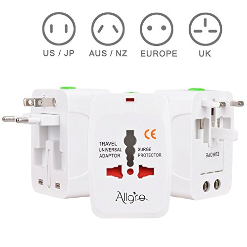 Allgro, Smart Travel Adapter ,Universal Travel Adapter for US To UK EU AU All In One Worldwide Power Adapter Safety Fuse Protection Adapter International AC Wall Charger For(No USB+All in - Outlet Ga Mall