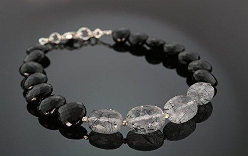(JP_Beads Black Rutilated Quartz & Black Tourmaline Beaded Oakland Raiders Bracelet with Silver PlatedKaren Hill Tribe Faceted Beads 4x7mm)
