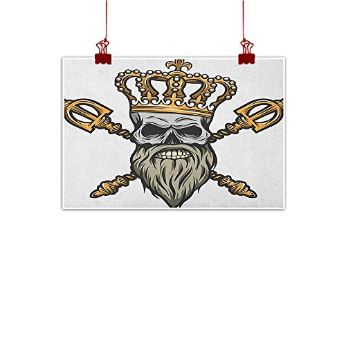Anyangeight Home Wall Decorations Art Decor King,Ruler Skull Head with Gray Beard Crossed Royal Scepter Cartoon Seemed Image, Golden and Pale Grey 32