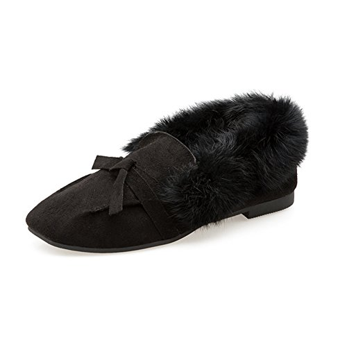 Black Toe Fur Outdoor Moccasin Slippers Women Loafer Bowknot Square Fluffy Winter Lined Flat Btrada Shoes Yw6qfBx