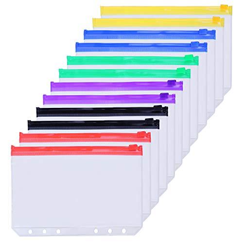 12 Folios Plasticos con cierre zipper A5 multicolor