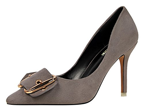 T&Mates Womens Retro Stylish Comfort Pointy Toe Buckle Suede High Heel Low Top Pumps Shoes (5.5 (Cute Construction Worker Costumes)