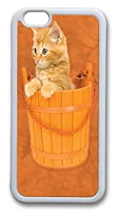 Bucket Kitten TPU Silicone Case Cover for iphone 6 plus 5.5 inch White