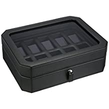 WOLF 458403 Windsor Ten Piece Watch Box, Black