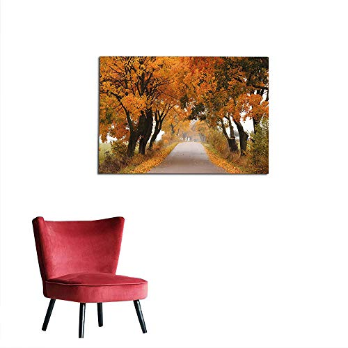 kungfu Decoration Home Decor Wall Fall,Fall Season in Poland Road with Colorful Vibrant Maple Trees Serenity Theme,Orange Brown Green Custom Poster W27.5 x -