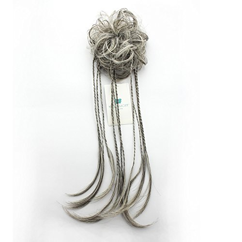 MERRYLIGHT Hair Extensions Messy Bun Gray White Braids Ponytail Hairpiece (Mixed Grey&White-M3/60) (Braid With Ponytail)