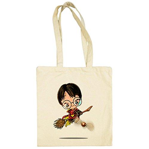 Bolsa de tela Chibi Kawaii Harry Potter Quidditch parodia Beige