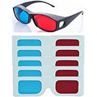 Hrinkar Original New Model Anaglyph 3D Glasses Red and Cyan 1 Plastic +5 Paper Offer - 3D Glass for Mobile Phone, Computer, Laptop, TV, Projector and Magazines