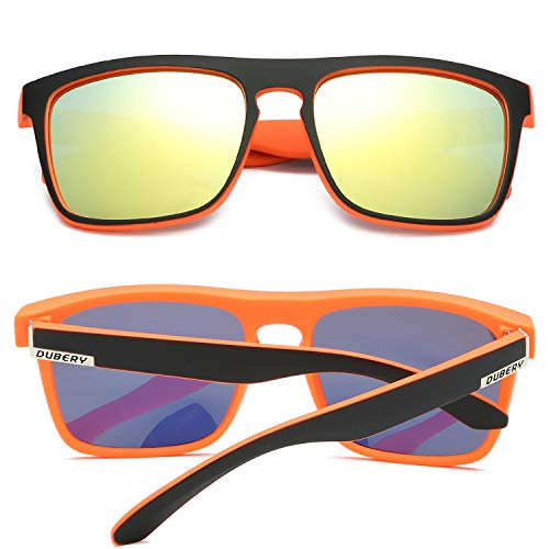 b532b050d21de DUBERY Polarized Sunglasses Classic 100% UV Protection Reflective Color  Mirror Large Square for Men Women-