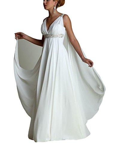eek Style Beaded Wedding Dresses With Watteau Train V-Neck Chiffon Maternity Bridal Gowns (Watteau Train)