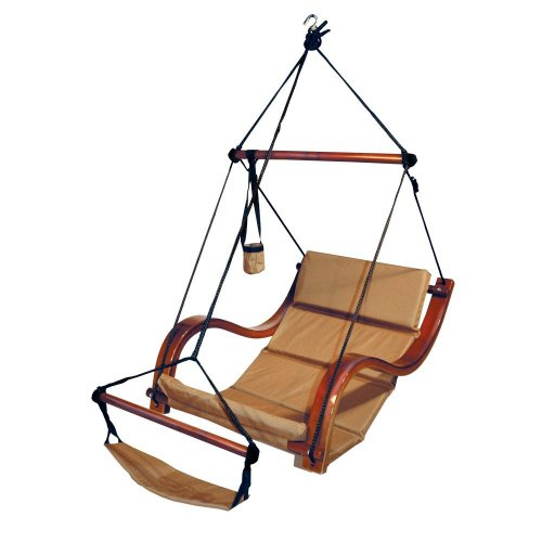Mission Lounger (Hammock Hanging Chair Porch/Patio Swing with Wooden Armrest (Sand))
