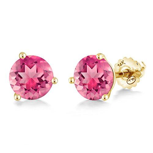 Gem Stone King 2.00 Ct Round 6mm Pink Mystic Topaz 14K Yellow Gold Martini Setting Stud Earrings