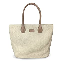 Hoxis Beach Rattan Woven Braid Pu Leather Deco Tote Women Shoulder Handbag (Khaki)