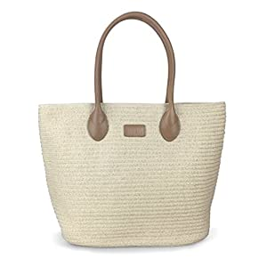 "Straw Rattan Women Tote Summer Beach Shoulder Handbag Medium Size 17.8""x12.6″x5.1″"