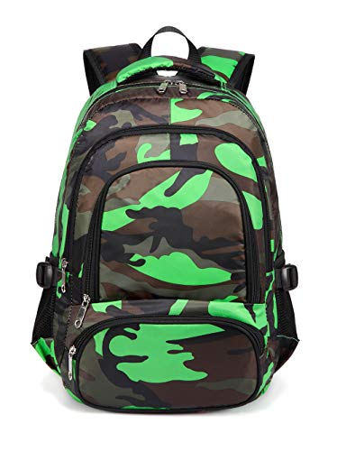 BLUEFAIRY Kids Bookbags for Boys Backpacks for Elementary School Bag (Camo Green)
