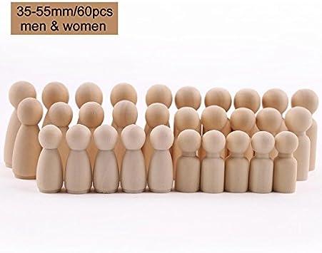 let's make 60pc Familia Peg Muñecas (55mm-35mm) Unfinished Wooden People Familia Grande Familia Peg Muñecas Familia De Madera DIY Artesanías Juguetes para Bebés