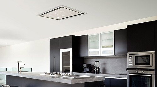 Luxair Anzi Slimline Ceiling Cooker Hood Stainless Steel 1200m3 Hr With LED Lights