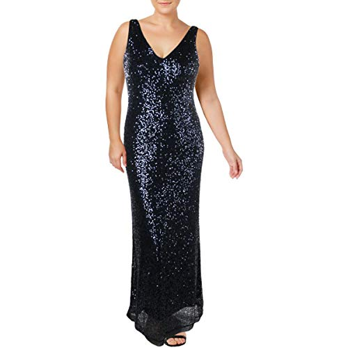 LAUREN RALPH LAUREN Womens Mesh Sequined Formal Dress Navy 14