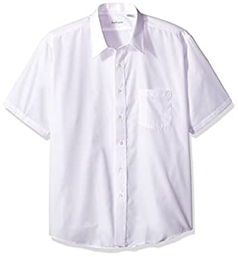 Van heusen men 39 s white broadcloth wrinkle free short for Wrinkle free dress shirts amazon