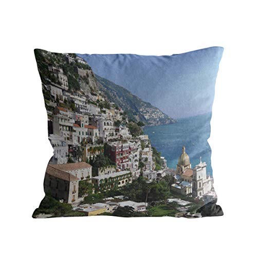 Positano Throw Pillow Cover Short Plush Pillow Sham Cases with Zipper for Couch/Sofa/Chair/Cushion/Bed, Beautiful Bay and Famous Resort of Amalfi,Campania Region,Italy, two sides 16 x ()