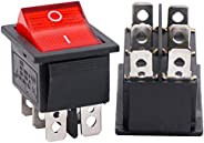 Twidec/2Pcs AC 20A/125V 15A/250V DPDT 6 Pins 2 Position ON/ON Red LED Light Illuminated Boat Rocker Switch Tog