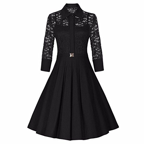 Price comparison product image Women Long Dress Daoroka Women's Sexy New Fashion Vintage Lace Three Quarter Sleeve Formal Patchwork Wedding Dress Cocktail Retro Swing Evening Party Skirt High Collar Slim Ladies Dress (L, Black)