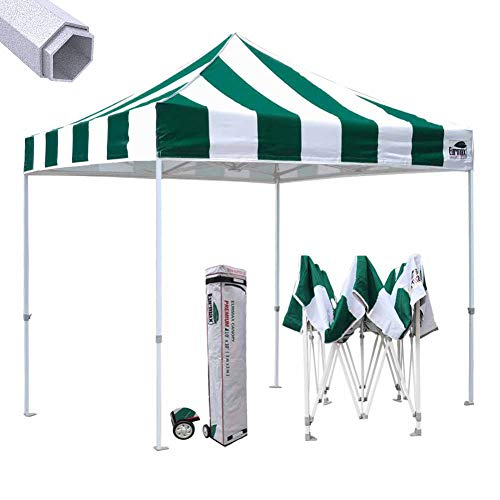 (Eurmax Premium 10'x10' Ez Pop-up Canopy Tent Commercial Instant Canopies Shelter with Heavy Duty Wheeled Carry Bag (Stripe Green))