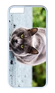 Gray cat ready to attack PC White Hard Case for Apple iPhone 6(4.7 inch)