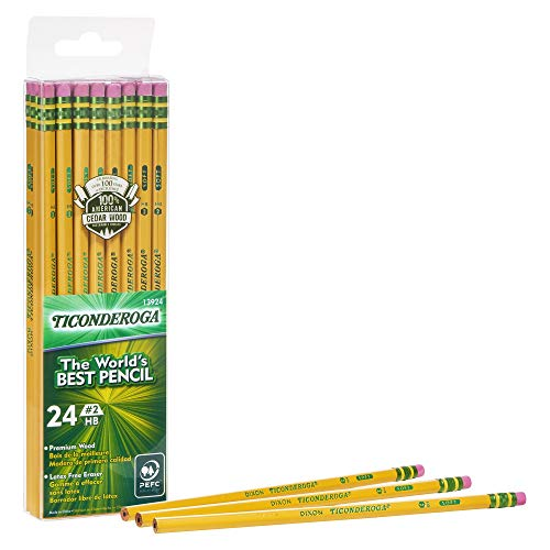 Ticonderoga #2 Pencils, Wood-Cased, 6 24-Count Hang-Tab Boxes, Total 144 Pencils, Yellow (13924) (13924N) (Box Hang Tab)
