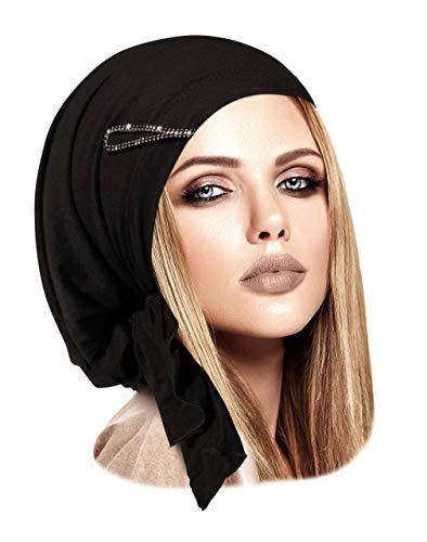 e2d578379af Pre-Tied Cotton Headwear Head-Scarf Chemo Cancer   Tichel Friendly Over 30  Colors! (Black Rhinestone Clip)