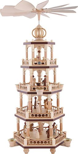 ISDD German christmas pyramid Christmas story, 4-tier, height 65 cm/26 inch, natural, original Erzgebirge by Mueller Seiffen