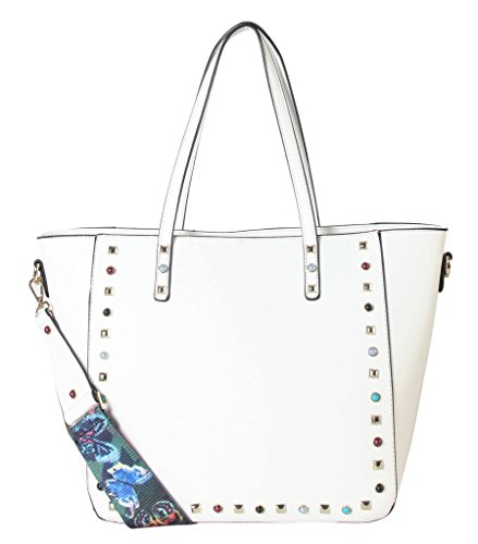 diophy-pu-leather-front-studded-bead-decor-womens-purse-tote-handbag-accented-with-removable-colorfu