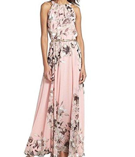 CRAVOG Damen Maxikleid Strandkleid Sommerkleid Floral gefaltete Kleid